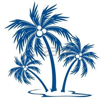 350x350 Palm Tree Silhouette Palm Trees With Coconuts. One Colour Symbol