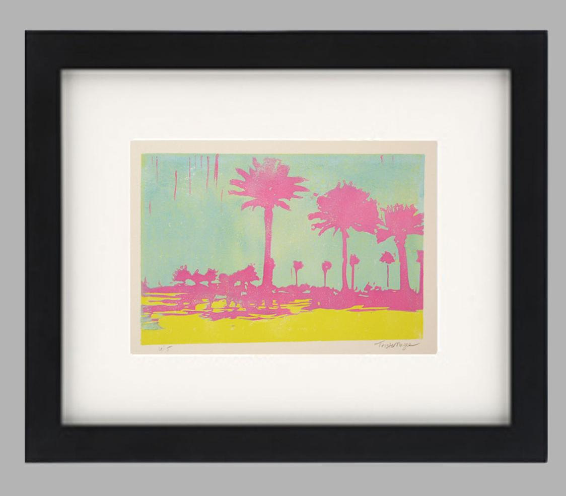 1124x985 Palm Trees Florida Linocut Reduction Relief Silhouette St.