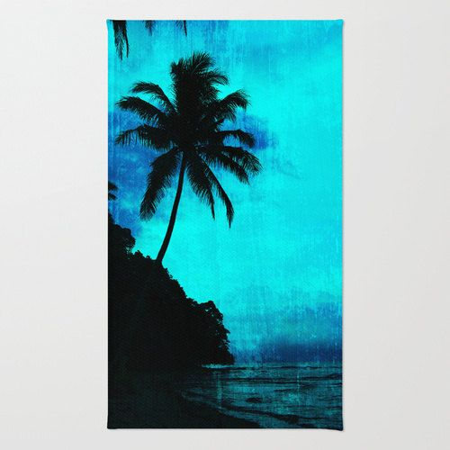 500x500 Tropical Palm Tree Rug, Tropical Area Rug, Silhouette Tree Rug