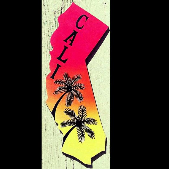 570x570 California Signs, Ombrae Art, Palm Tree Silhouette, Hand Painted