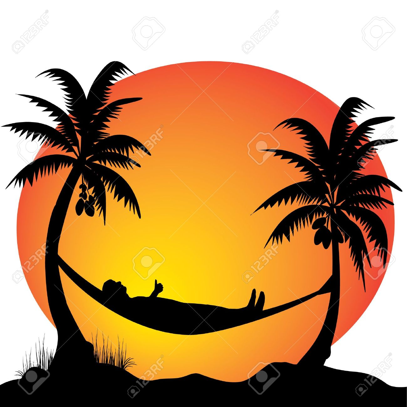 1300x1300 Hammock Clipart Sunset Palm Tree