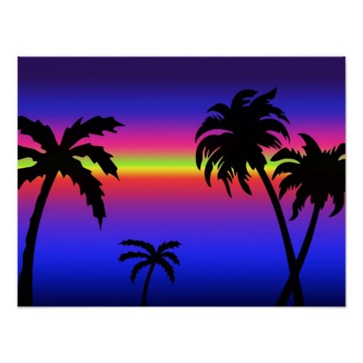 512x512 Palm Tree Sunset Clipart