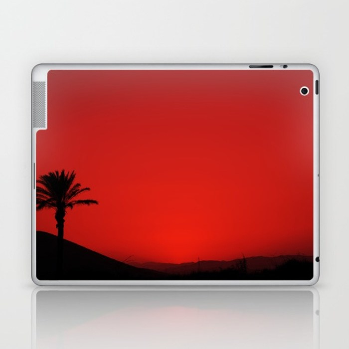700x700 Red Andalusian Sunset With Silhouette Palm Tree And Mountain