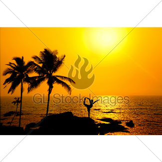 325x325 Silhouette Of Yoga Natarajasana At Sunset Gl Stock Images