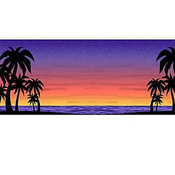 350x350 This Sunset Background Features A Purple, Blue And Red Sun Setting