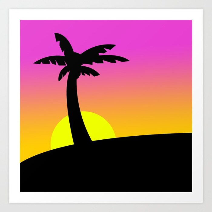 700x700 80's Miami Sunset Art Print By Chaddegris Society6