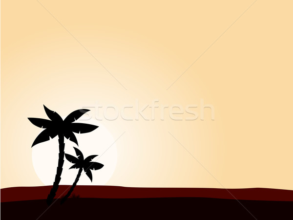 600x450 Desert Sunrise Background With Black Palm Tree Silhouette Vector