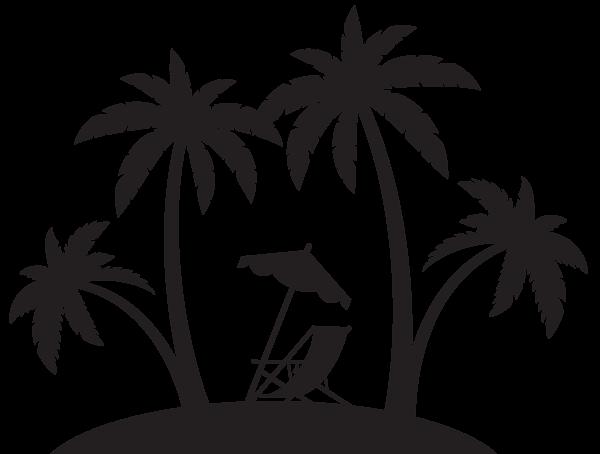 600x454 Palms And Beach Chair Silhouette Png Clip Art Sagome Stencyl