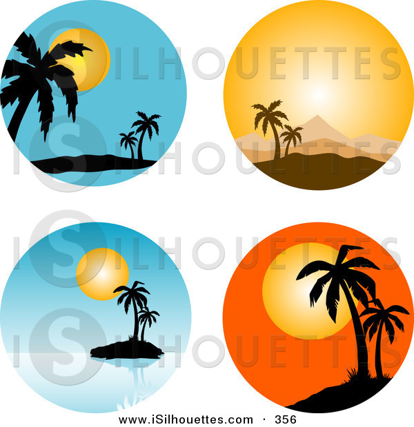 600x620 Silhouette Clipart Of A Collection Of Four Circular Tropical