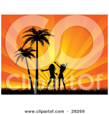 450x470 Clipart Illustration Of Two Silhouetted Women, Friends Or Sisters