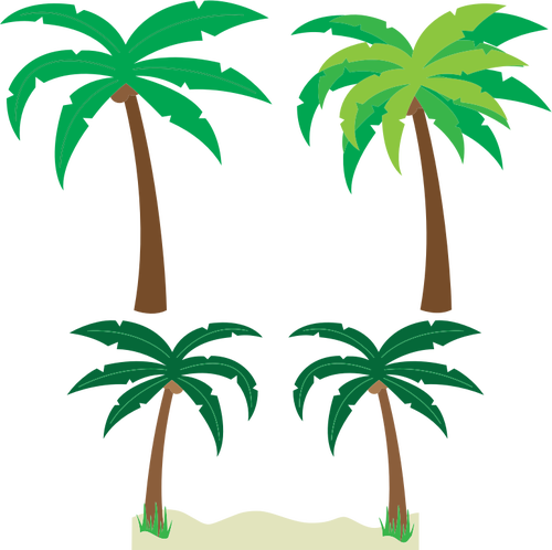 500x498 Palm Trees Silhouette Vector Drawing Public Domain Vectors