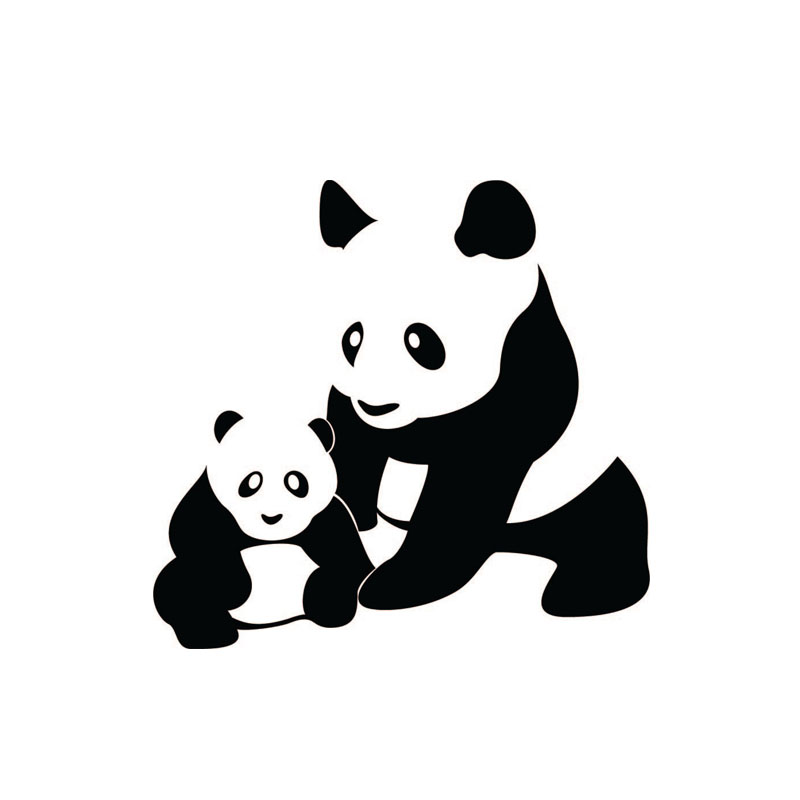 800x800 Panda Mon And Baby Silhouette Wall Stickers Animal Home Decor