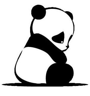 305x325 Baby Panda Silhouette Cross Stitch Pattern, In Pdf