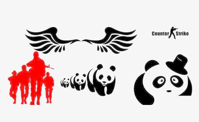 650x400 Simple Cartoon Panda Silhouette, Element, Panda, Cartoon Png Image