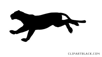 400x224 Panther Silhouette Animal Free Black White Clipart Images