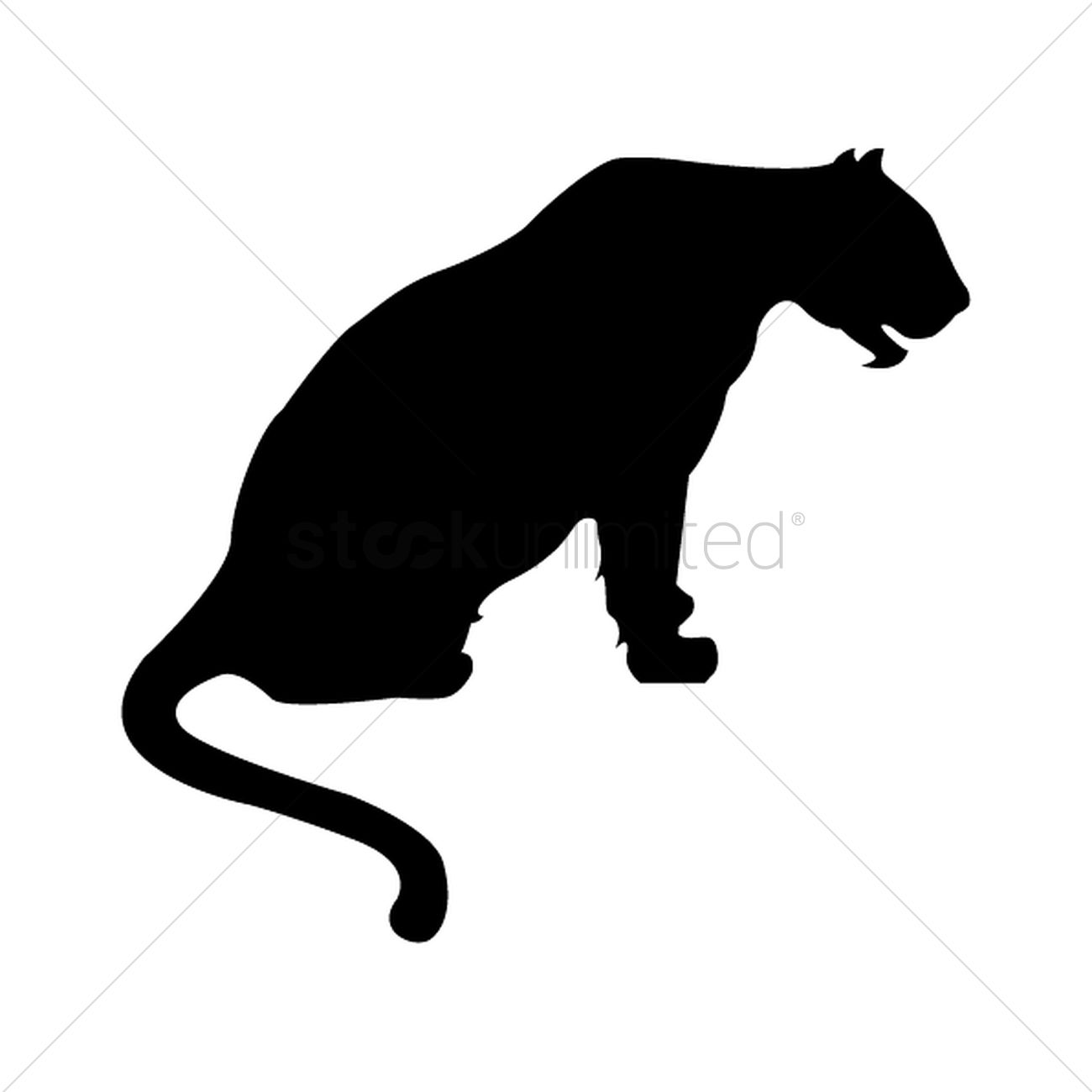1300x1300 Silhouette Of Sitting Tiger Vector Image