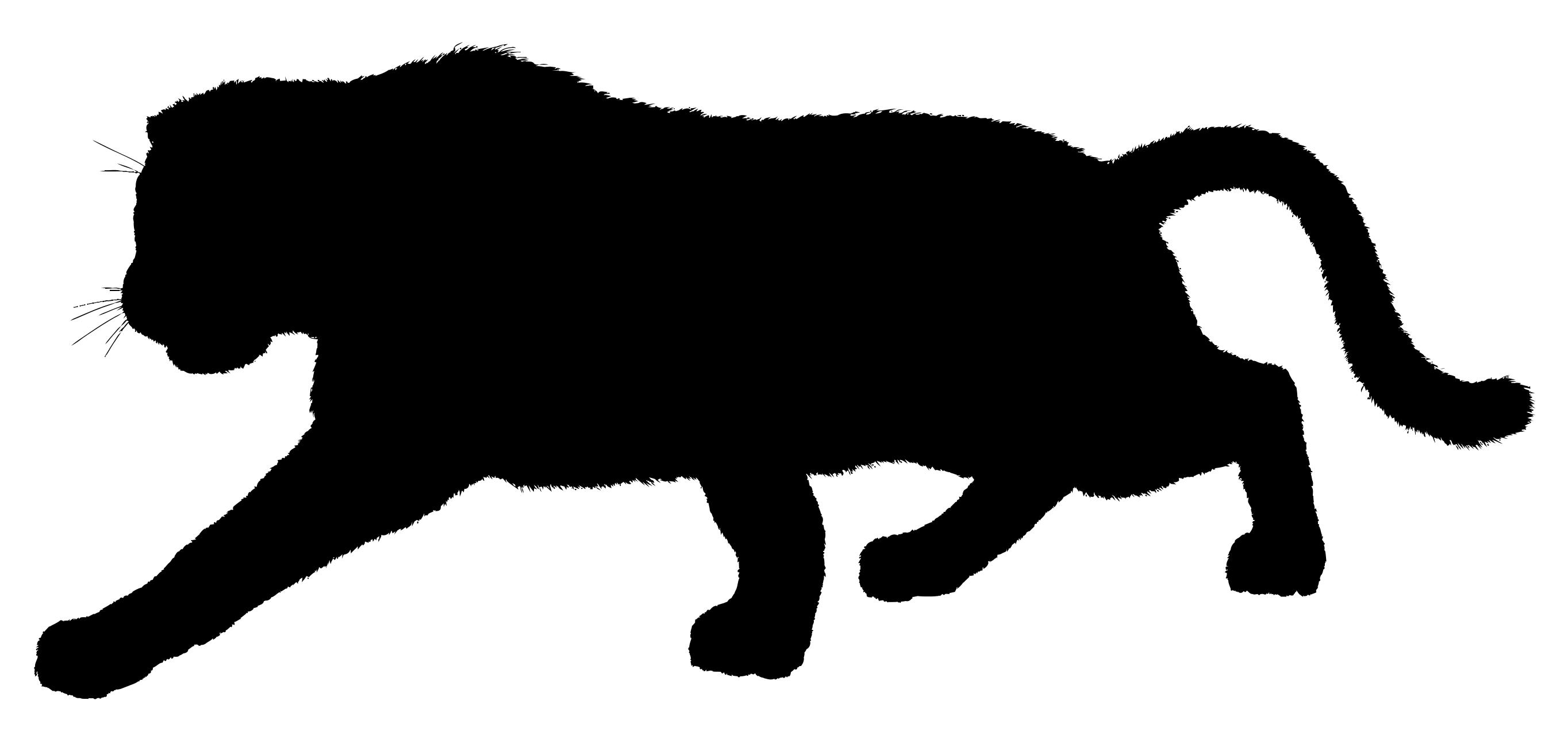 2728x1271 Furry Panther Silhouette Variation 2 Clipart