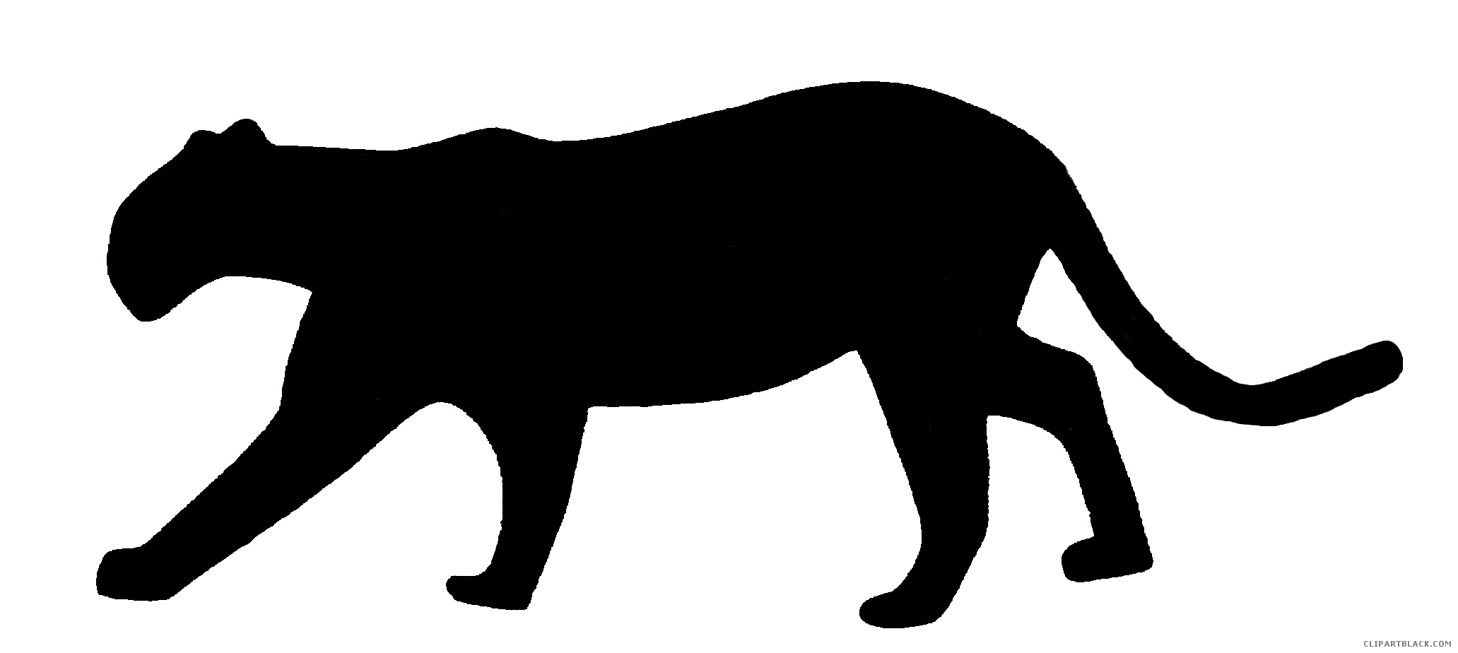 2063x924 Panther Silhouette Animal Free Black White Clipart Images