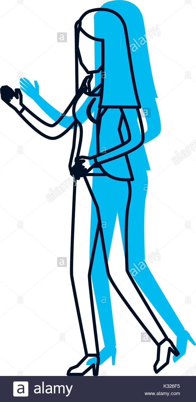 679x1390 Business Woman Faceless In Jacket And Pants Blue Watercolor Stock