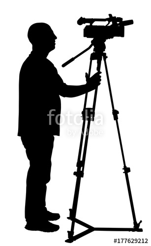 307x500 Cameraman Silhouette With Video Camera On Event, Concert, Sport