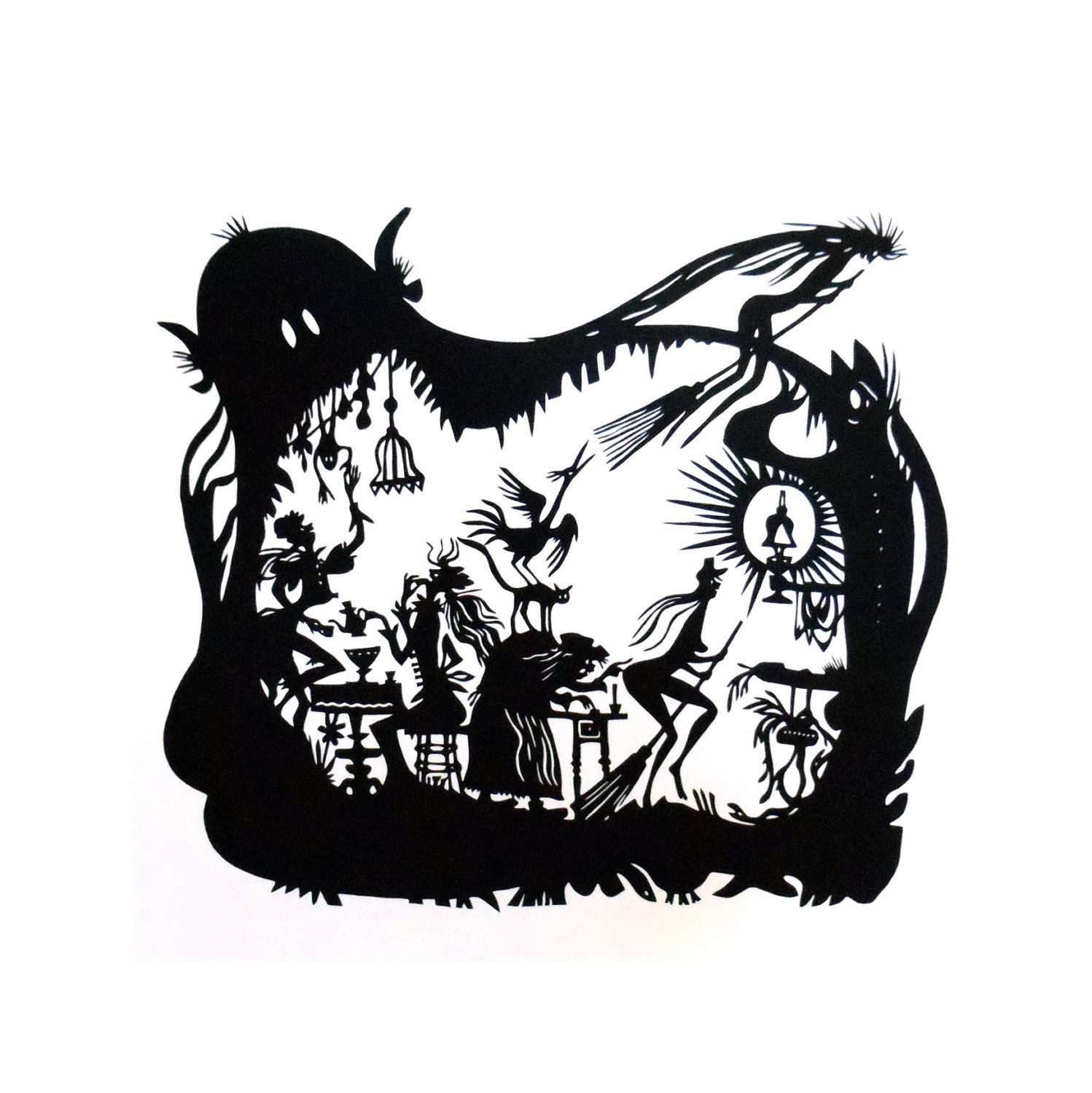 1498x1500 Papercut Silhouette Applewitch, German Black And White Art