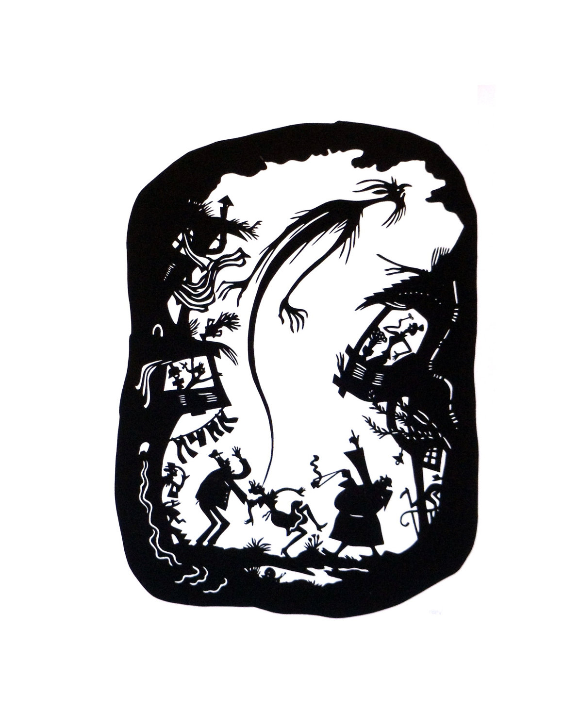 1195x1500 Papercut Silhouette Ghost, German Black And White Art Cutout