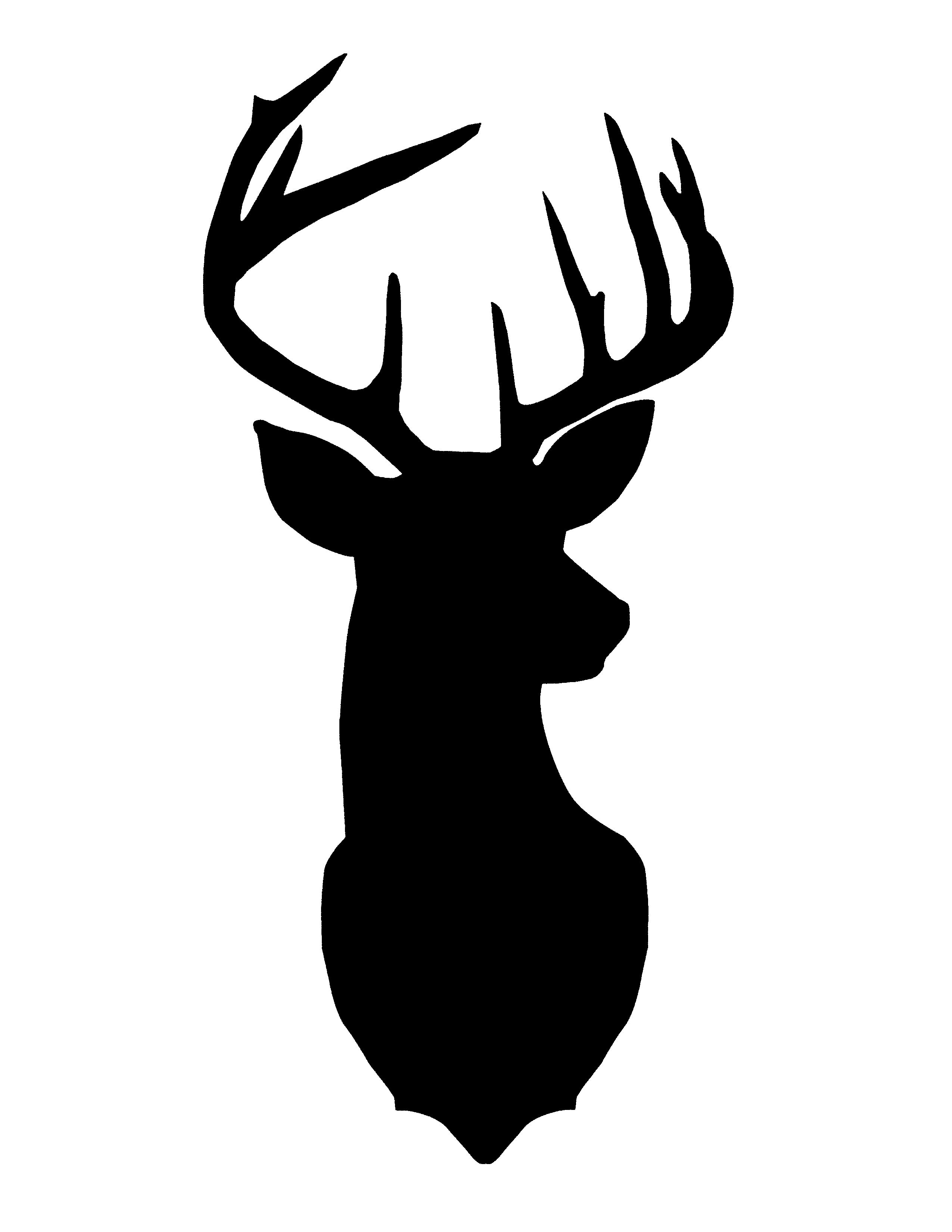 2550x3300 Free Christmas Printables Deer Head Silhouette, Gold Paper