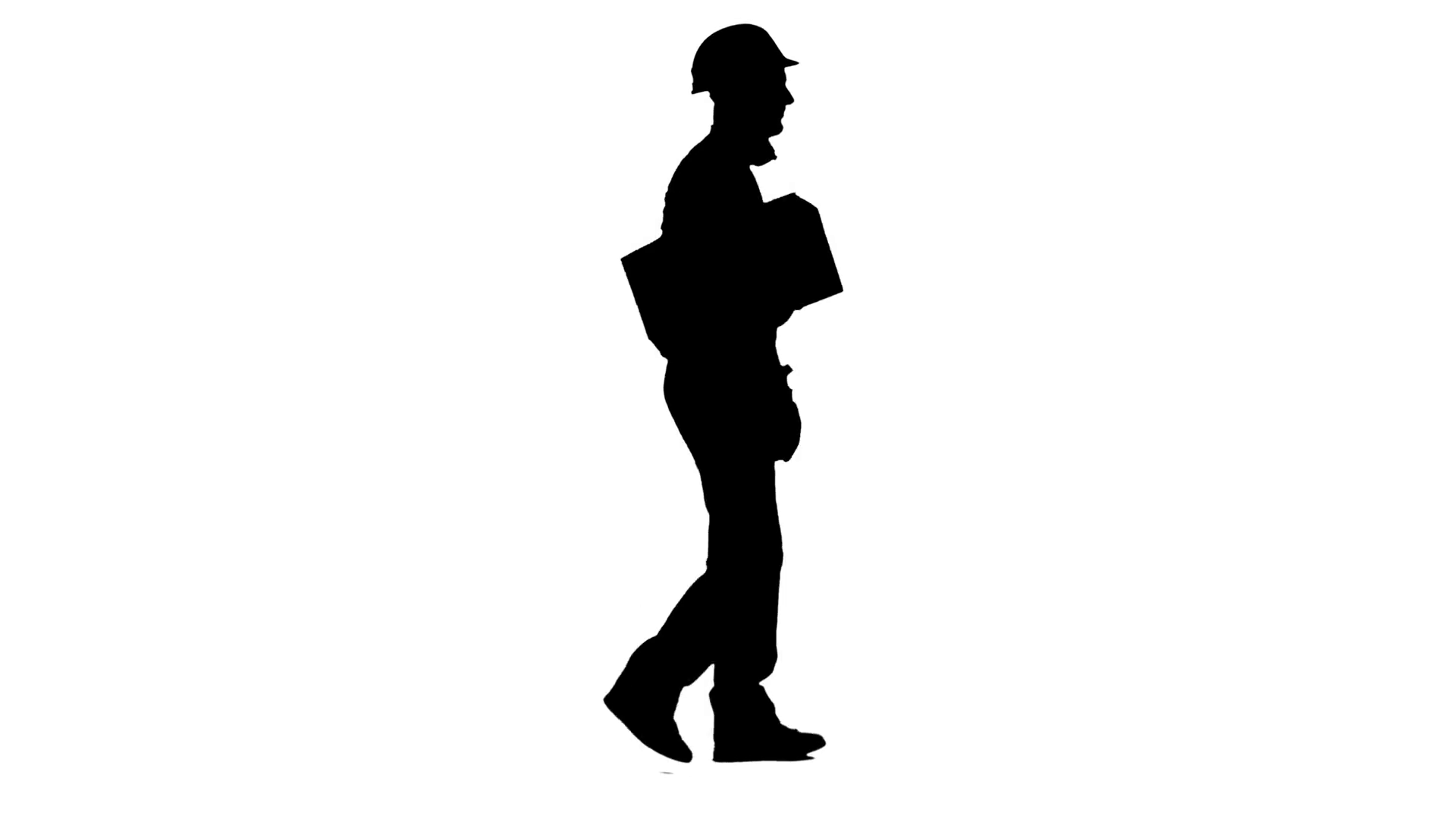 1920x1080 Worker Carries A Paper Box In His Hands. White Background