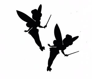 300x257 Black Silhouette Tinkerbell Fairy Paper Cut Outs Cutouts Die Cuts