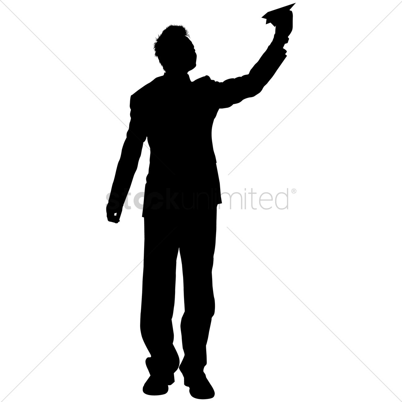 1300x1300 Businessman With Paper Plane Silhouette Vector Image