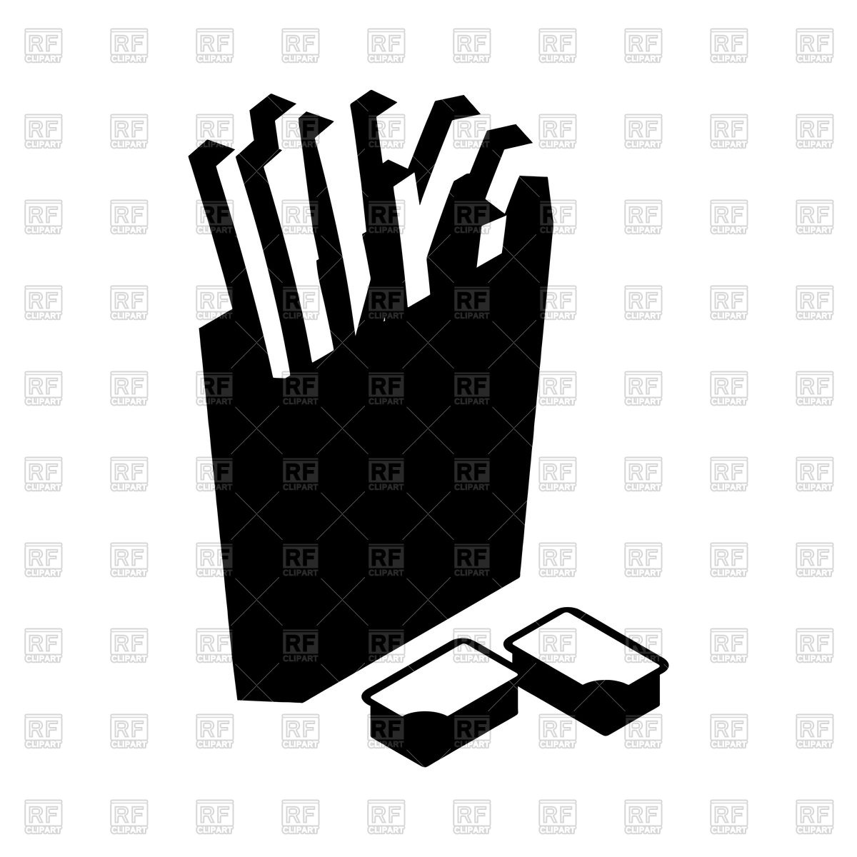1200x1200 French Fries In Paper Box Silhouette Royalty Free Vector Clip Art