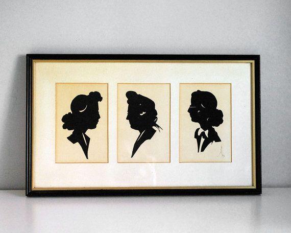 570x456 Paper Cut Silhouettes, 1940s Women Portraits, Vintage Folk Art