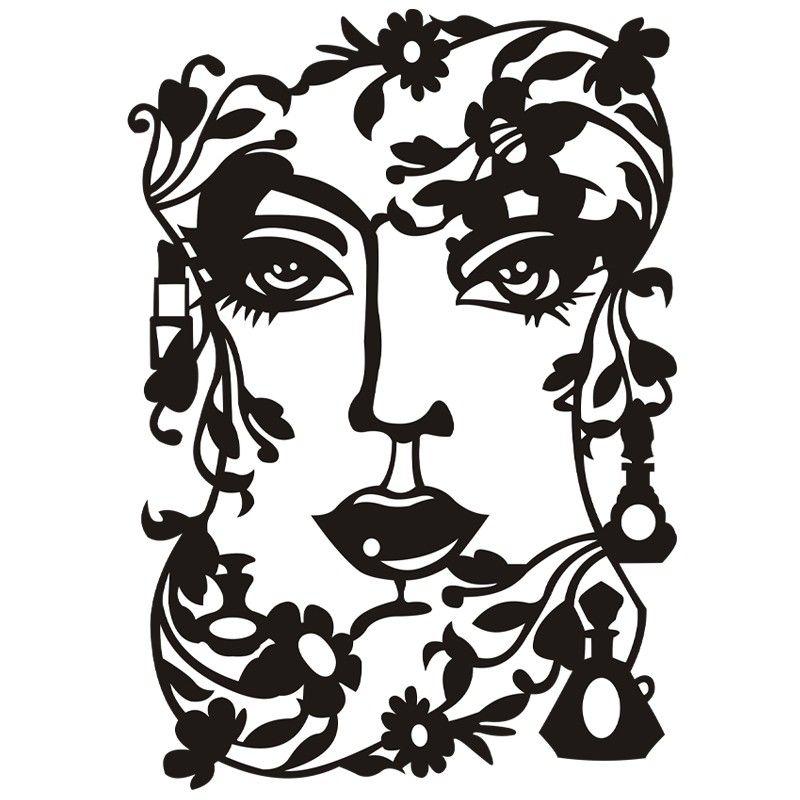 800x800 Silhouetten Laser Schablone, 26,5 Cm, Gesicht Stencilsilhouette