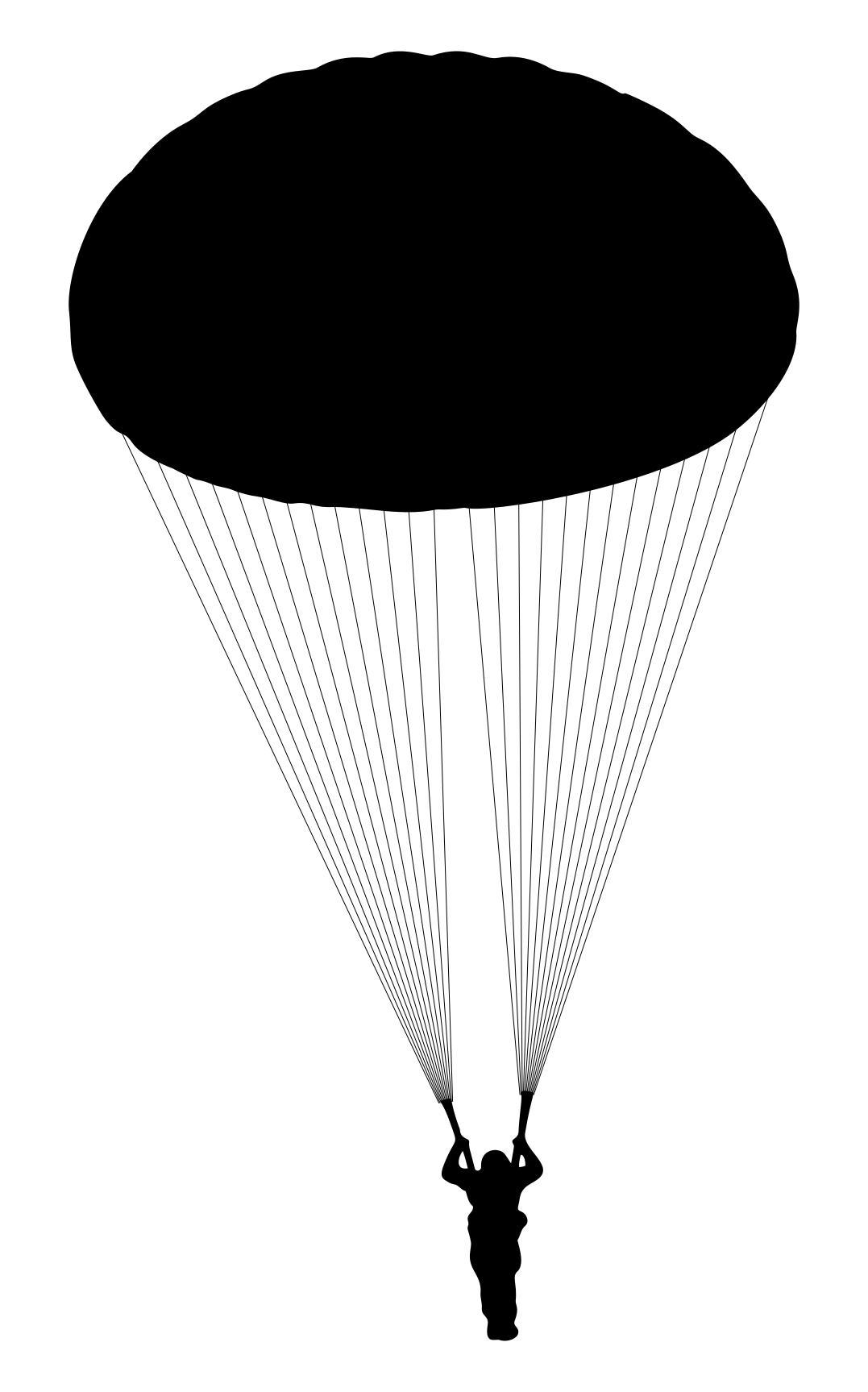 1077x1727 Parachute Silhouette 2 Clipart