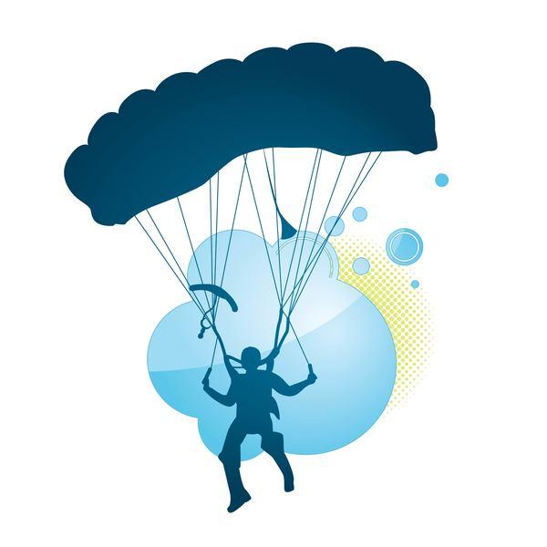 600x600 Parachute Silhouette Vector Material 01