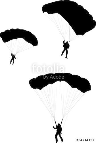 338x500 Silhouette Of Sky Diver With Open Parachute