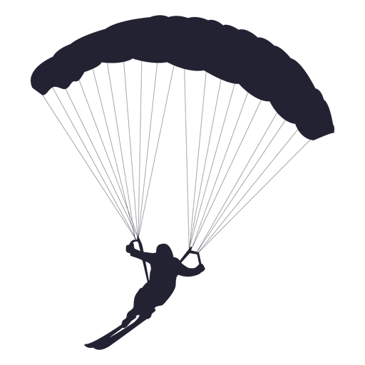 512x512 Ski Parachute Gliding Silhouette