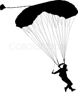 273x320 Skydiver, Parachute Man Silhouette, Black And White Vector