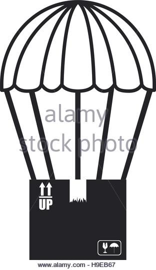 312x540 Black Silhouette Parachute Cardboard Box Stock Photos Amp Black