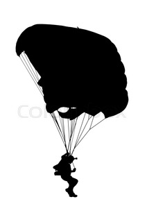 212x320 Bottom Profile Silhouette Of Sky Diver With Open Parachute