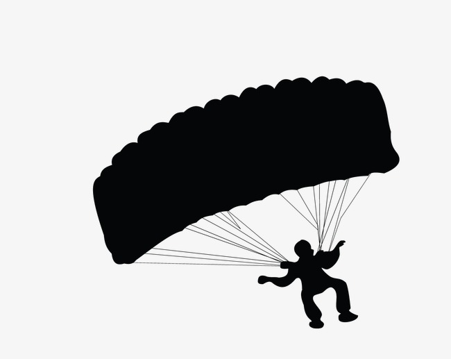 650x517 Parachute, Parachute Silhouette, Skydiving Silhouette Png