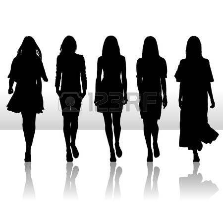 450x413 Parade Walk Vector Illustration Of Single Isolated Girls Set
