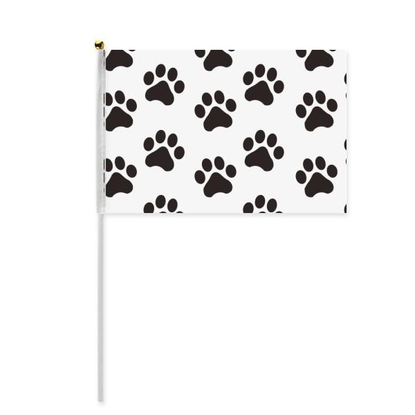 600x600 Cat Animal Cute Paw Print Silhouette Footprint Hand Waving Flag