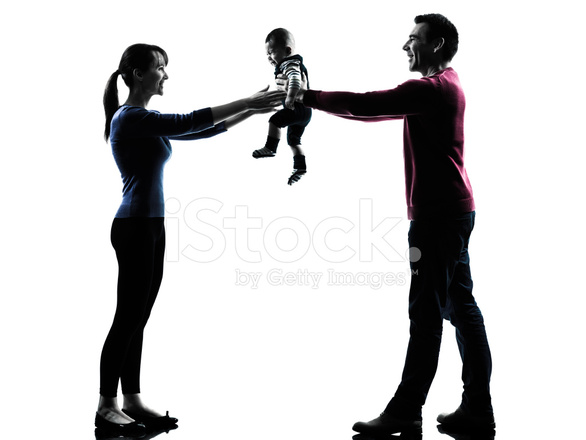 586x440 Parents With Baby Silhouette Stock Photos