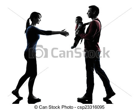 450x357 Parents With Baby Silhouette. Parents With Baby In Stock