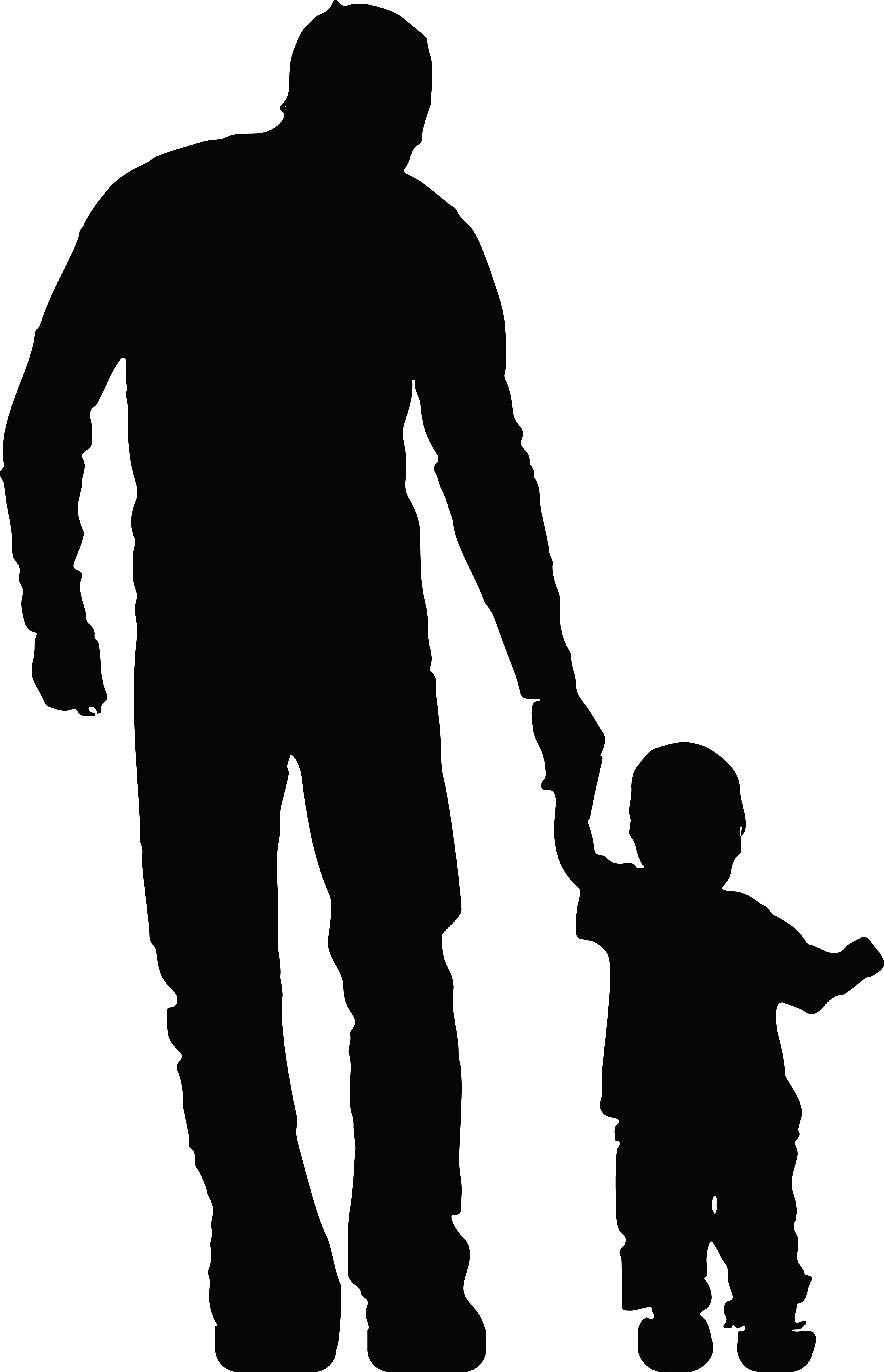 4000x6207 Clipart Of A Silhouetted Father Holding Hands With His Son