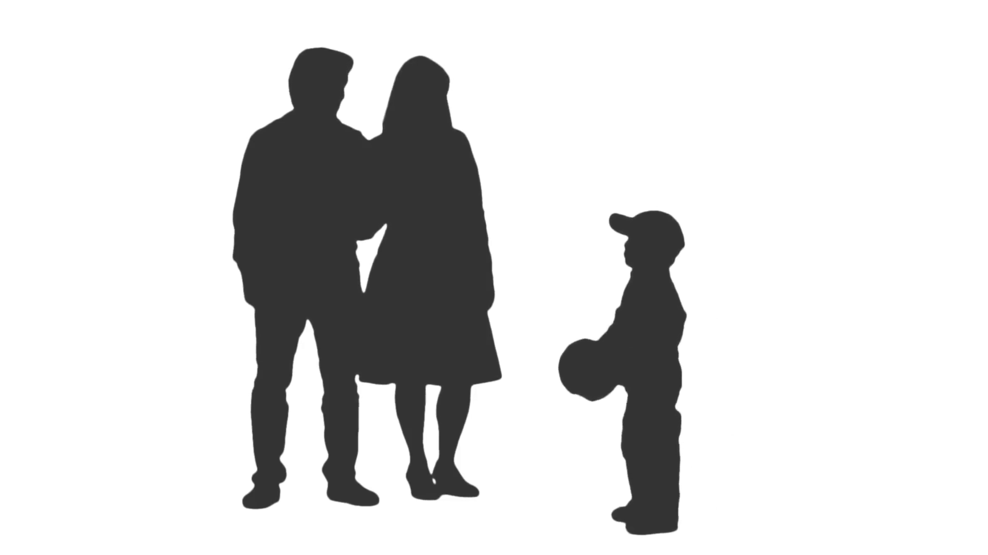1920x1080 Silhouette Of A Little Boy And His Parents Playing Ball. Full Hd