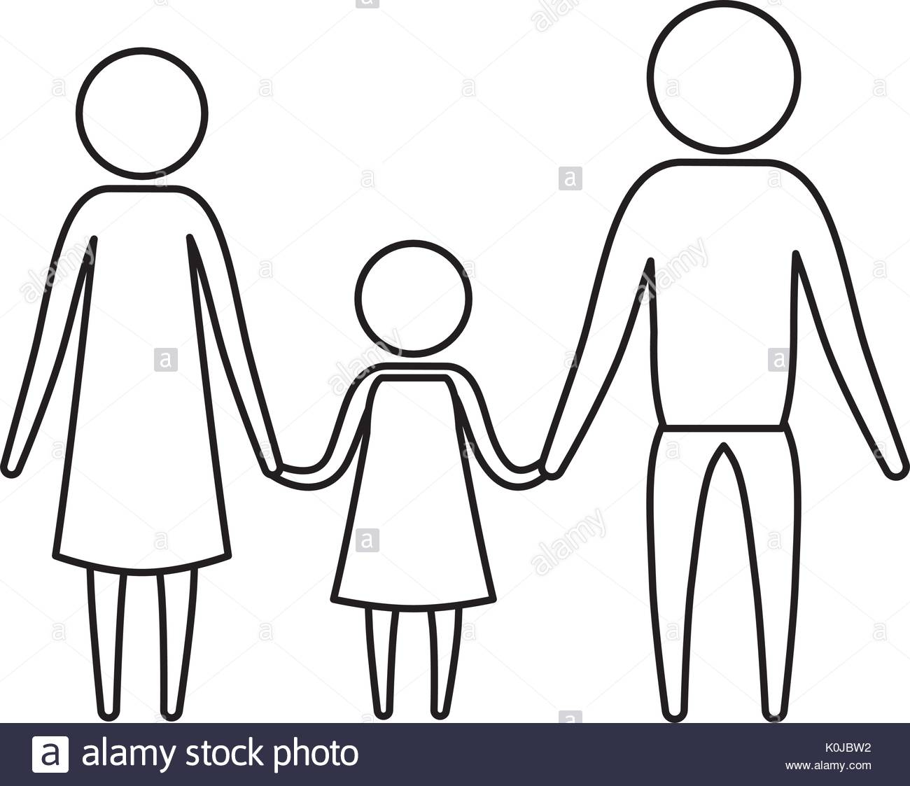 1300x1123 Sketch Silhouette Of Pictogram Parents With A Girl Holding Hands