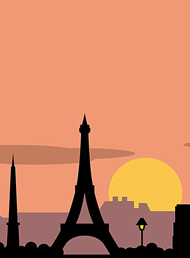 650x882 Eiffel Tower Silhouette Poster, France, Sunrise, Sun Background