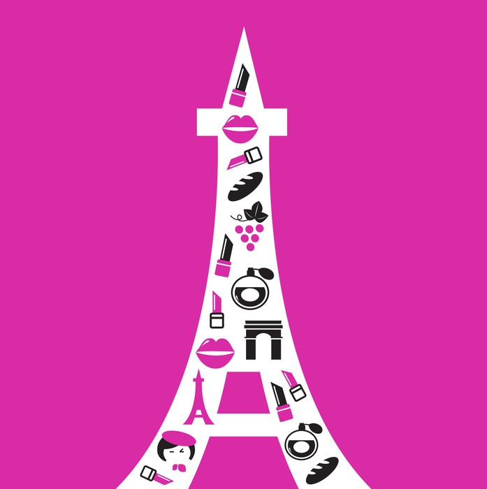 697x700 Retro Paris Eiffel Tower Silhouette With Icons Isolated On Pink